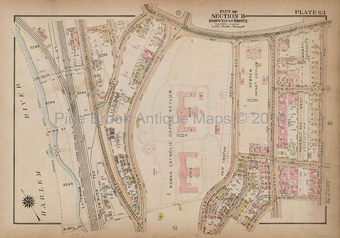 Map Of New York Bronx.Kingsbridge Grand Bronx Antique Map New York City Bromley 1921