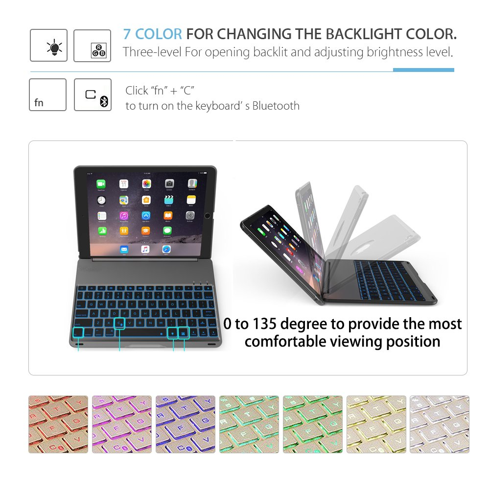 iPad Keyboard Case for 2017 New iPad 9.7 inch & iPad Air with 7 Colors LED Backlit iPad Keyboard with Bluetooth Protective Case Cover for iPad 5th Generation and iPad Air 1 by HotGo(Black) by HotGo (Image #2)