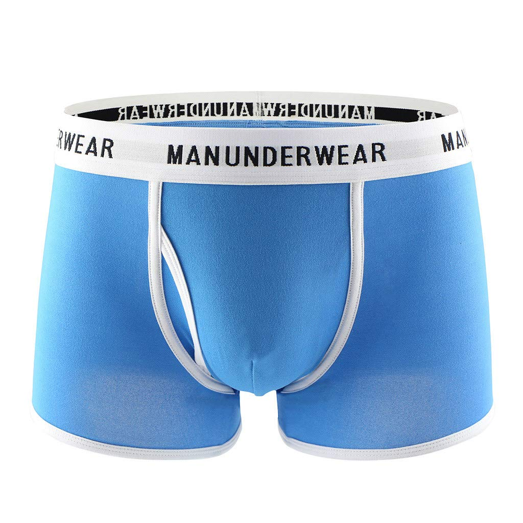 Voberry@ Men's Boxer Briefs Men Soft Underwear Open Fly Shorts No Ride Up Pouch Panties