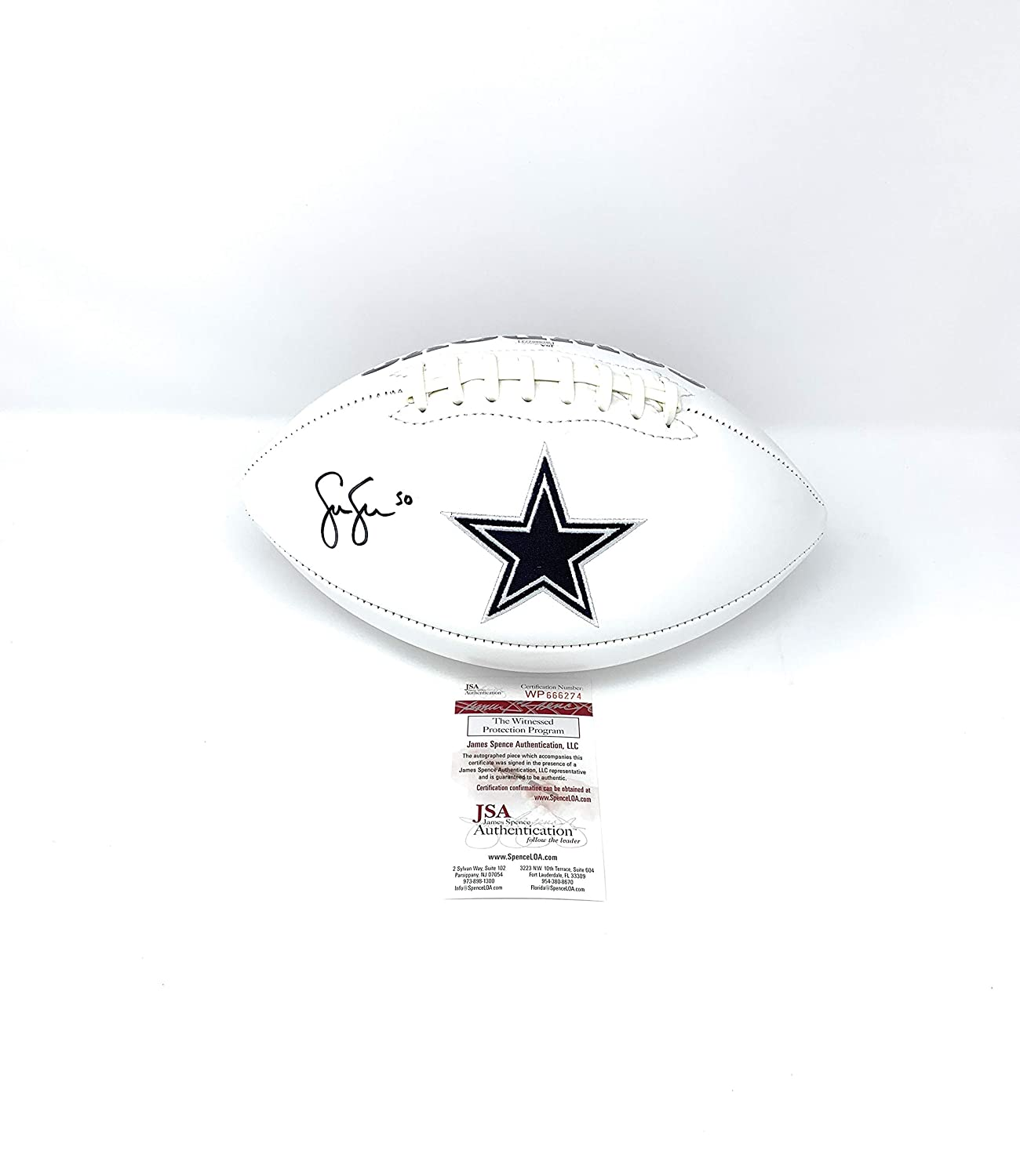 Sean Lee Dallas Cowboys Signed Autograph Embroidered Logo Football JSA Witnessed Certified