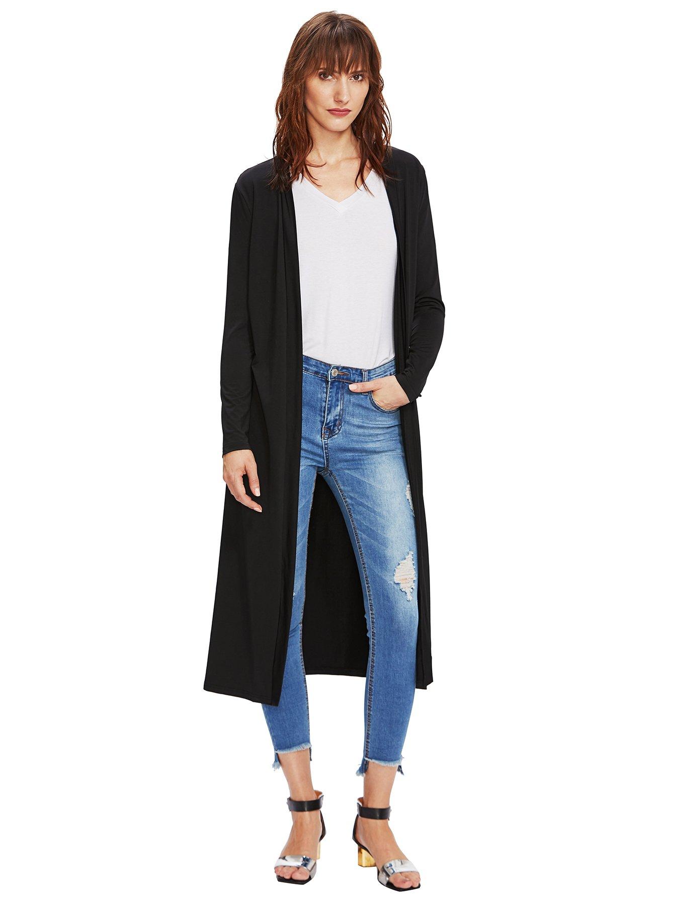 Verdusa Women's Long Sleeve Open Front Long Maxi Cardigan Longline Duster Coat Black M by Verdusa (Image #5)