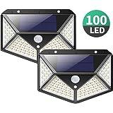 センサーライト 屋外 ソーラーライト 100Led 300度照明範囲 防水 人感センサー 3つ点灯モード 防犯 庭 玄関 駐車場