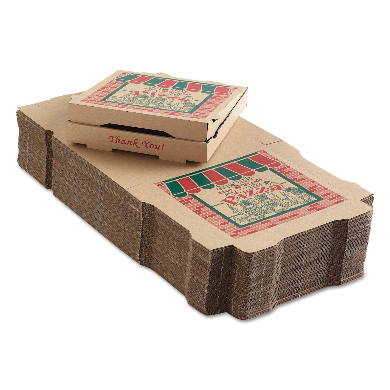 White Printed Paperboard Take Out Catering Pizza Boxes 12x12x2-Inch Corrugated Pizza Boxes 50 SafePro COR12
