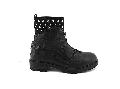 GRUNLAND Junior CEFO PO1068 Botines Negros de Cuero de niña de botín 38: Amazon.es: Zapatos y complementos