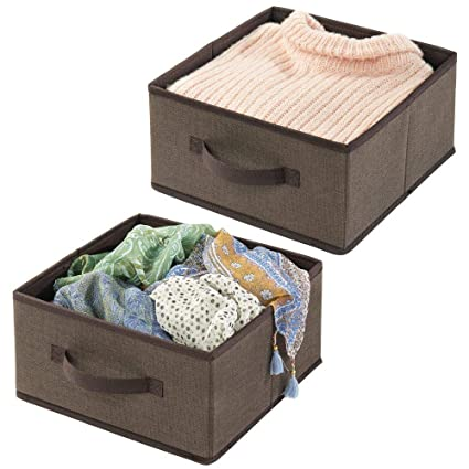 mDesign Soft Fabric Modular Closet Organizer Box with Handle for Cube  Storage Units in Closet, Bedroom to Hold Clothing, T Shirts, Leggings, ...