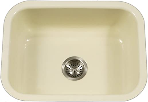 Houzer Pcs 2500 Bq Porcela Series Porcelain Enamel Steel Undermount Single Bowl Kitchen Sink Biscuit