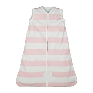 Burt's Bees Baby - Beekeeper Wearable Blanket, 100% Organic Cotton, Rugby Stripe Blossom (Medium)