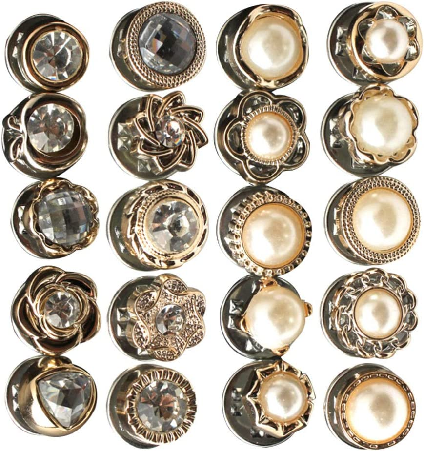 Healifty 60pcs Assorted Pearl Button Vintage Decorative Safety Brooch Pin Button DIY Crystal Rhinestone Sewing Fasteners for Jewelry Making Craft Dress Clothing Bags Decor