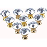 LONG SHENG 10pcs 30mm Crystal Glass Cabinet Knob Cupboard Drawer Pull Handle (Gold)