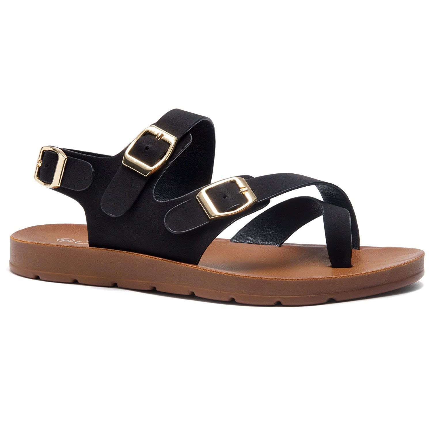80bcdcb0fc6 Amazon.com  Herstyle Sure Thing Women s Fashion Buckle with Ankle Strap Flat  Sandals Greek Platform Low Wedge Shoes  Shoes