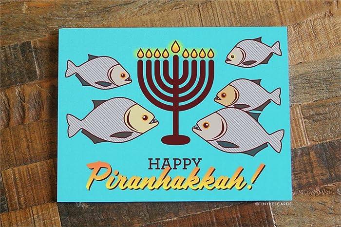 funny hanukkah pun card happy piranhakkah - Funny Hanukkah Cards