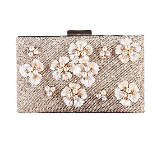 Xiaoqin Bolso del Bolso del Baile de Fin de Curso del bols Bolsos de Embrague de Noche para Mujer Bolsos de Noche de Perlas con Flores: Amazon.es: Hogar