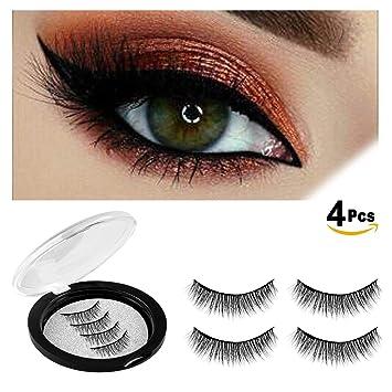 db0816339ad Amazon.com : Magnetic Eyelashes Glue-free Magnet Black False Eyelashes for  Natural Look 3D Reusable Best Fake Lashes Extensions (014-4PCS) : Beauty