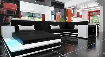 Ecksofa Sofa Couch München Leder Sofa Schwarz Weiß Amazonde