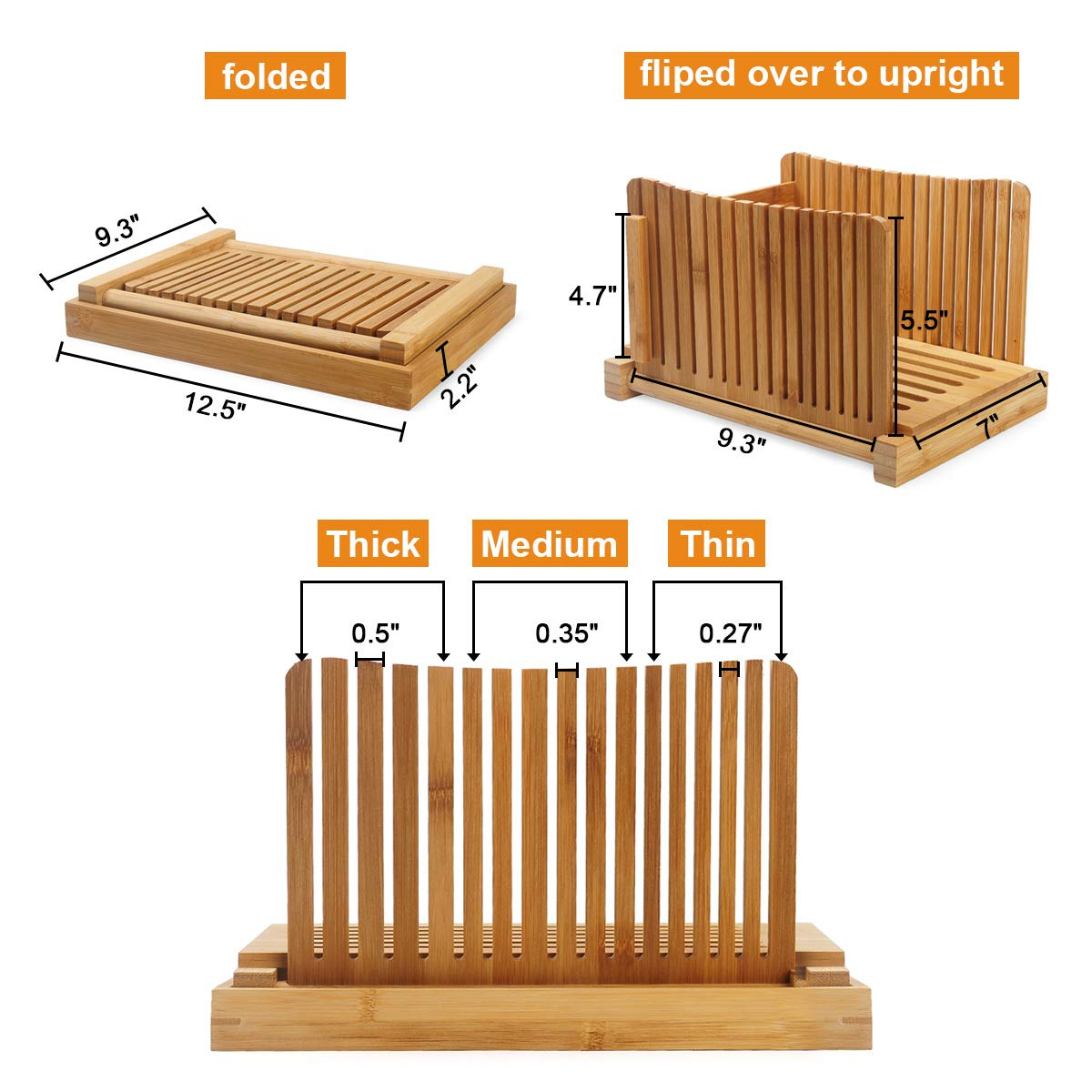 AKUNSZ Bamboo Bread Slicer Guide with Crumb Catcher, Adjustable Bread Loaf Slicer Foldable Bread Cutter Slicer - Thickness Adjustable 1/4'',3/8'',1/2''(Assembled Size 5.5''x9.3''x7'') by AKUNSZ (Image #3)