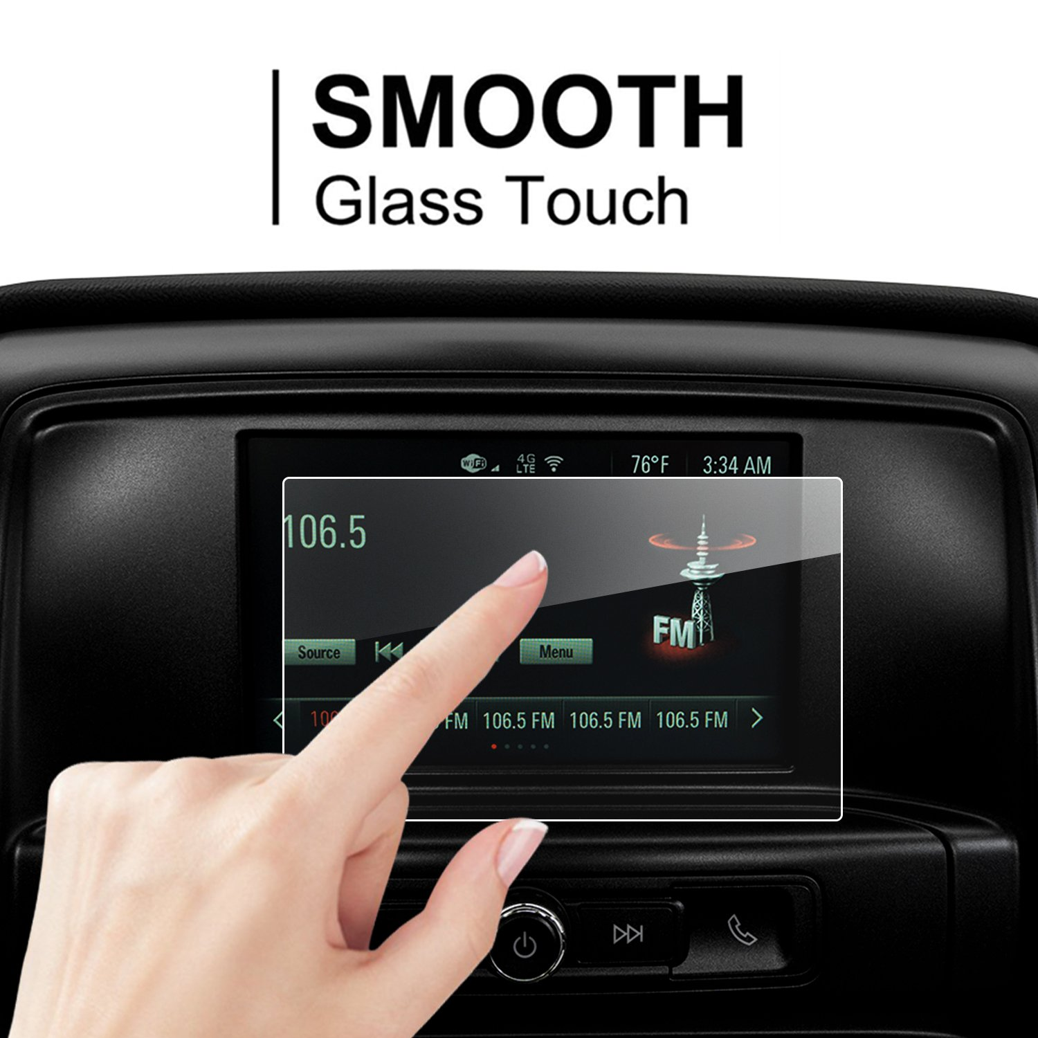 LFOTPP 2016-2018 GMC Sierra 1500 2500HD 3500HD 8 Inch IntelliLink Car Navigation Screen Protector, 9H LiFan 201617GMCSierra 1500 25003500HD8 Inch 8-Inch Tempered Glass Center Touch Screen Protector Anti Scratch High Clarity