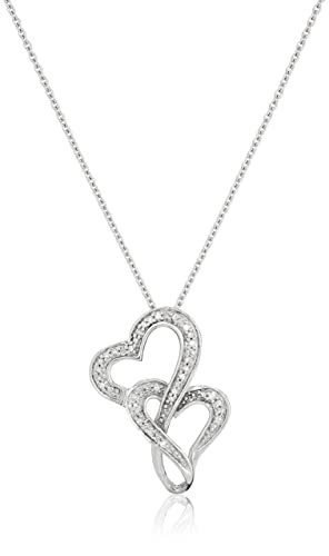 Jewelili Sterling Silver Diamond Accent Double Heart Pendant Necklace, 18 – New