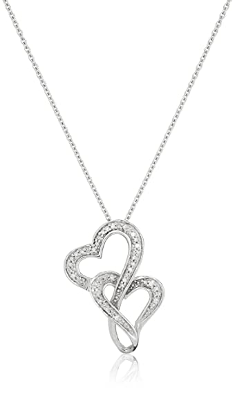 Amazon sterling silver diamond accent double heart pendant sterling silver diamond accent double heart pendant necklace 18quot aloadofball