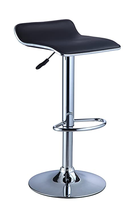 Strange Powell Black Faux Leather Chrome Thin Seat Adjustable Bar Stool Pack Of 2 Gmtry Best Dining Table And Chair Ideas Images Gmtryco