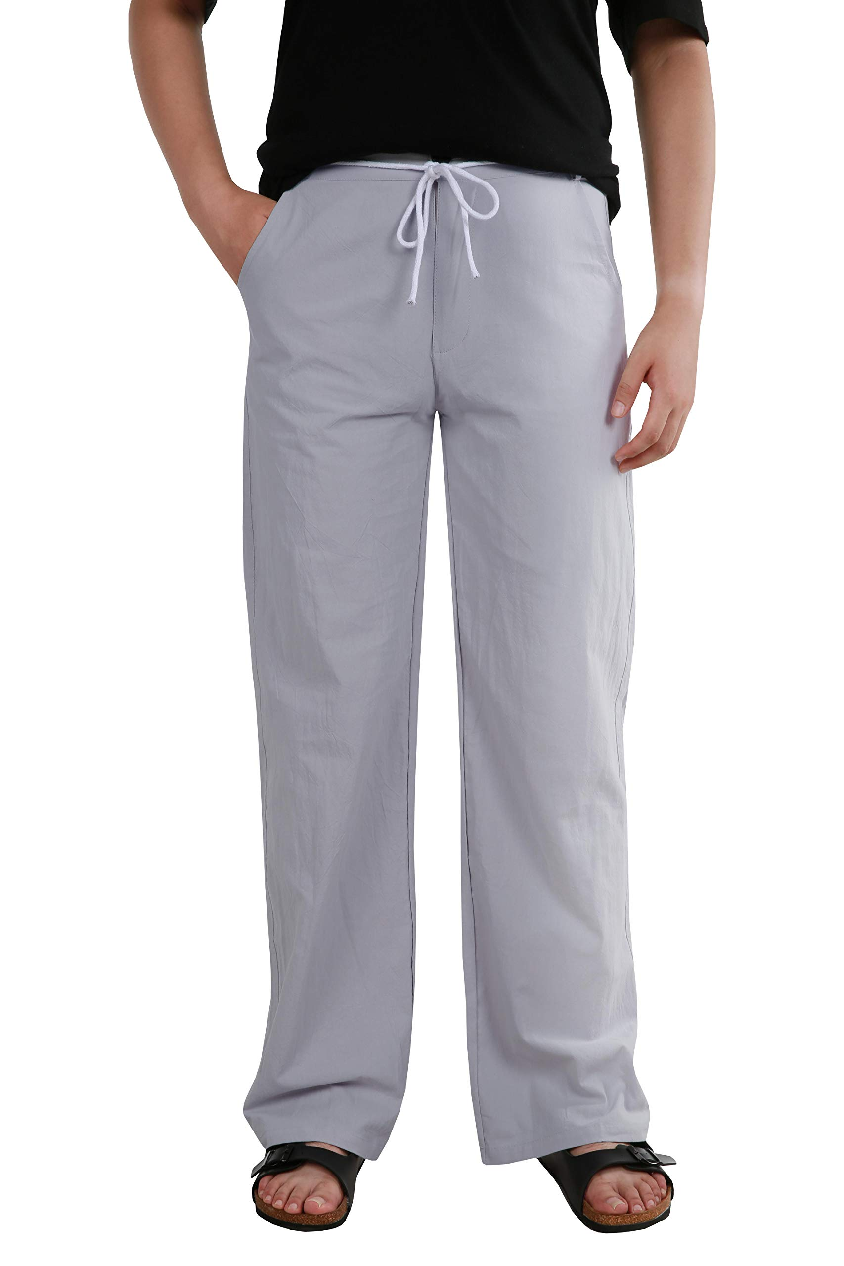 Makkrom Mens Casual Beach Trousers Linen Drawstring Summer Pants