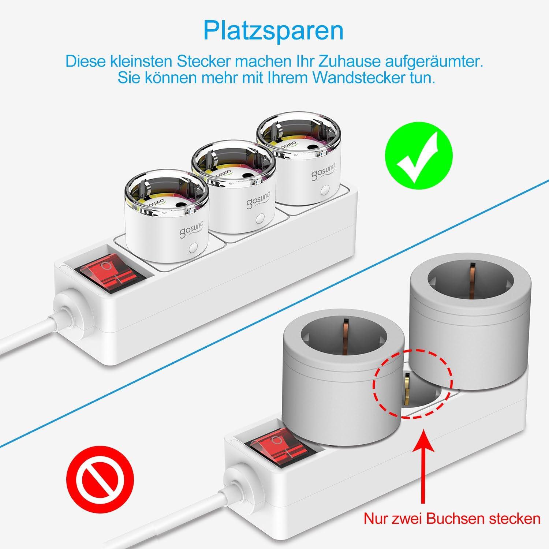 Gosund Alexa compatible con Alexa Google Assistant funci/ón de temporizador medici/ón de consumo de energ/ía no requiere hub Enchufes WLAN inteligentes conector peque/ño de 15 A 4 unidades control remoto