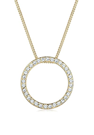 a800f08b8 Elli Women's 925 Sterling Silver Gold Swarovski Crystals Circle Geo Necklace  - 45cm length