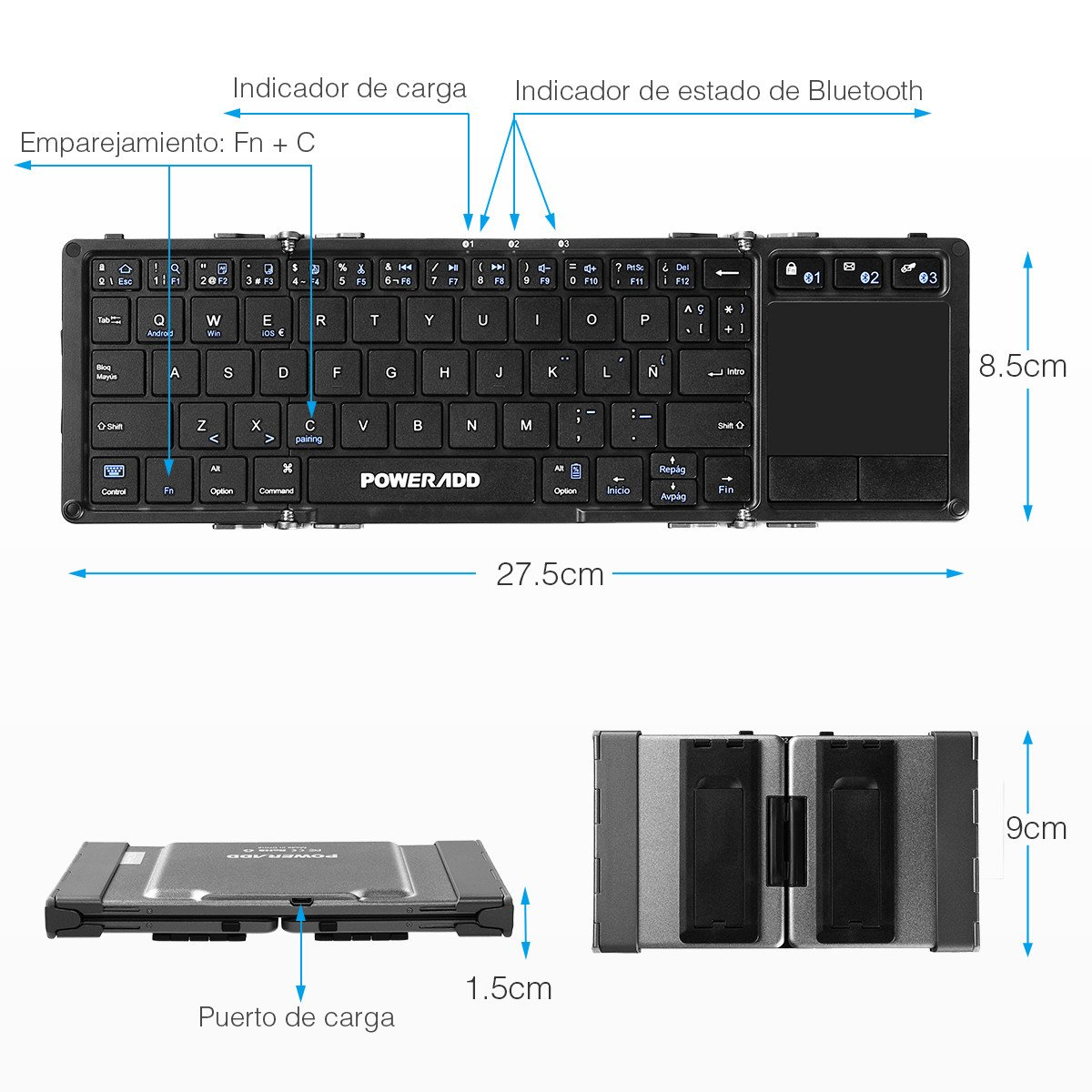 Poweradd Teclado Inalámbrico con Multi-touchpad de Español con Tri-plegable,Compatible con Android, Windows, iOS ,Smartphone