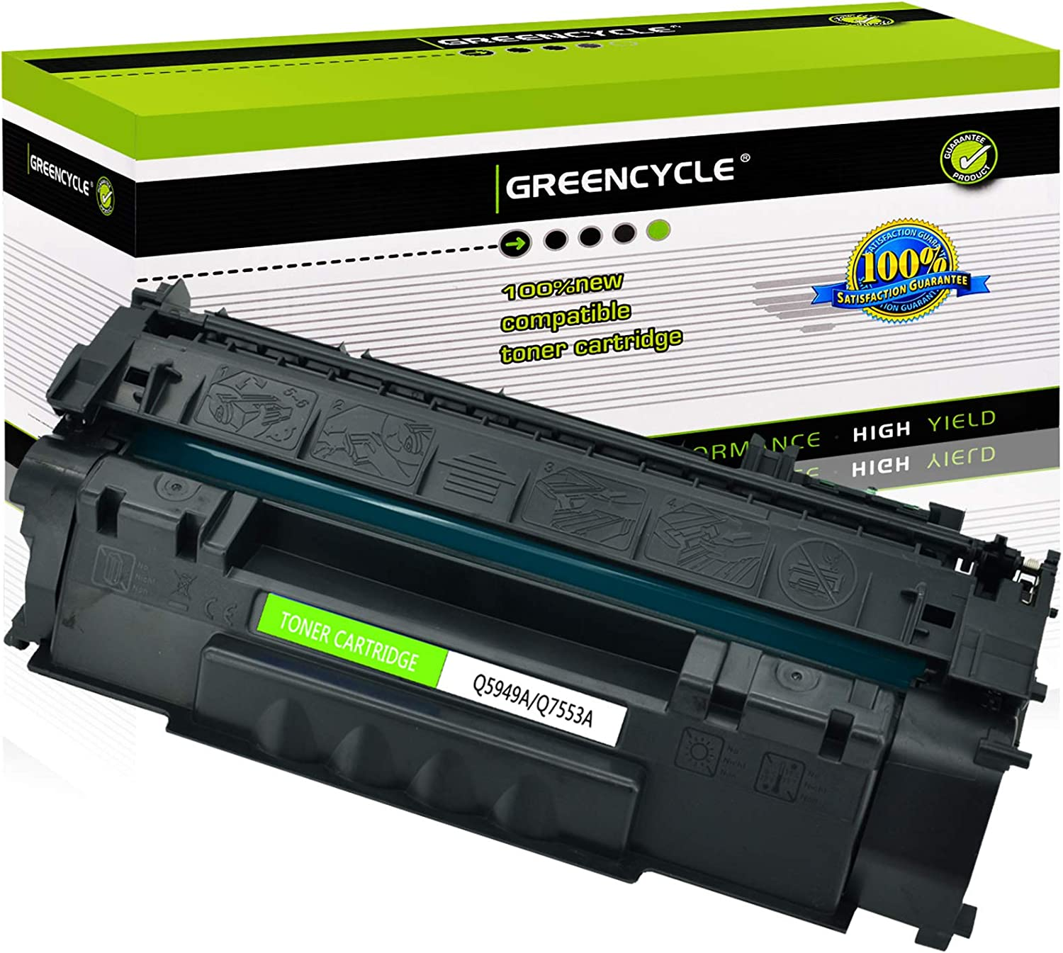 GREENCYCLE Compatible Q5949A 49A Toner Cartridge Replacement for HP Laserjet 1160 1320 1320N 1320T 1320TN 1320NW 3390 3392 Printer (Black,1 Pack)