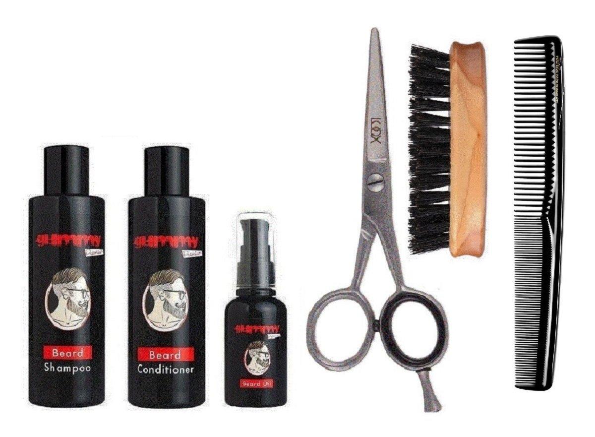 fonex Barba Cuidado Juego Complete con barba Champú, barba Conditioner, bartöl, tijeras para Bigote, Barba Cepillo, barba peine y estuche para dama