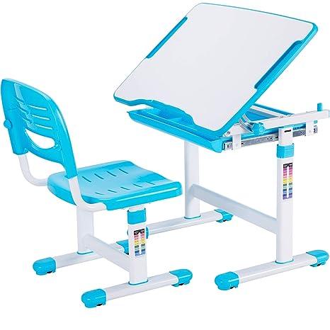 Astonishing Vivo Blue Height Adjustable Childrens Desk And Chair Set Kids Interactive Workstation Desk V201B Theyellowbook Wood Chair Design Ideas Theyellowbookinfo
