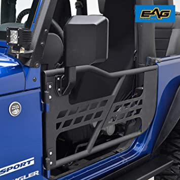 e-autogrilles 07 - 16 Jeep Wrangler JK Off-Road Negro Textura Tubo Frontal Puerta Puertas con espejos laterales (2) (51 - 0385): Amazon.es: Coche y moto