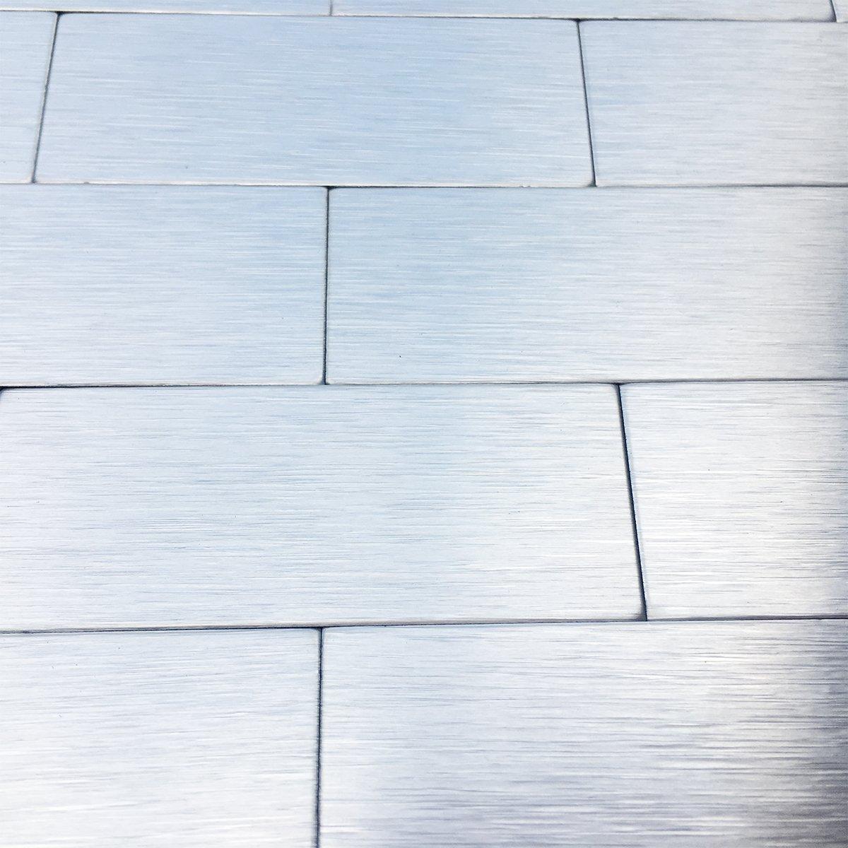Art3d Peel and Stick Metal Backsplash Tile for Kitchen / Bathroom, Brush Silver Alumimium