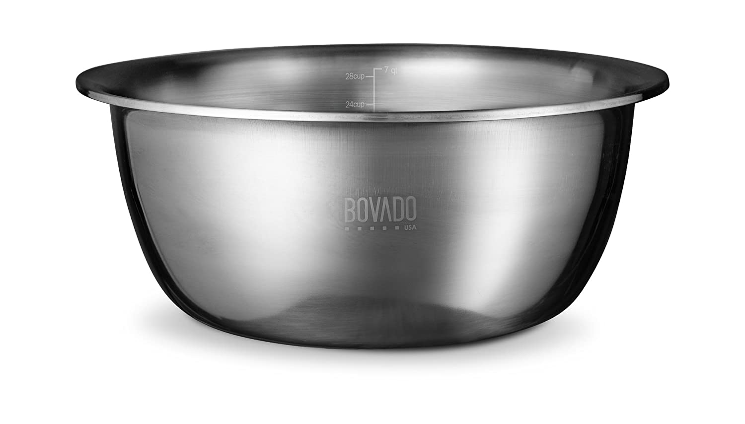 New Design Stainless Steel Mixing Bowl - 7.5qt - Flat Bottom Extra Wide Non Slip Base, Retains Temperature, Dishwasher Safe - By Bovado USA