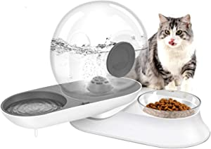 URPOWER Cat Water Fountain Snail Shape Pet Fountain with Feeding Bowl 2 in 1 Transparent and Visible 95oz/2.8L Automatic Gravity Cat Water Dispenser 180° Rotating Drinking Bowl for Cats,Dogs and Pets