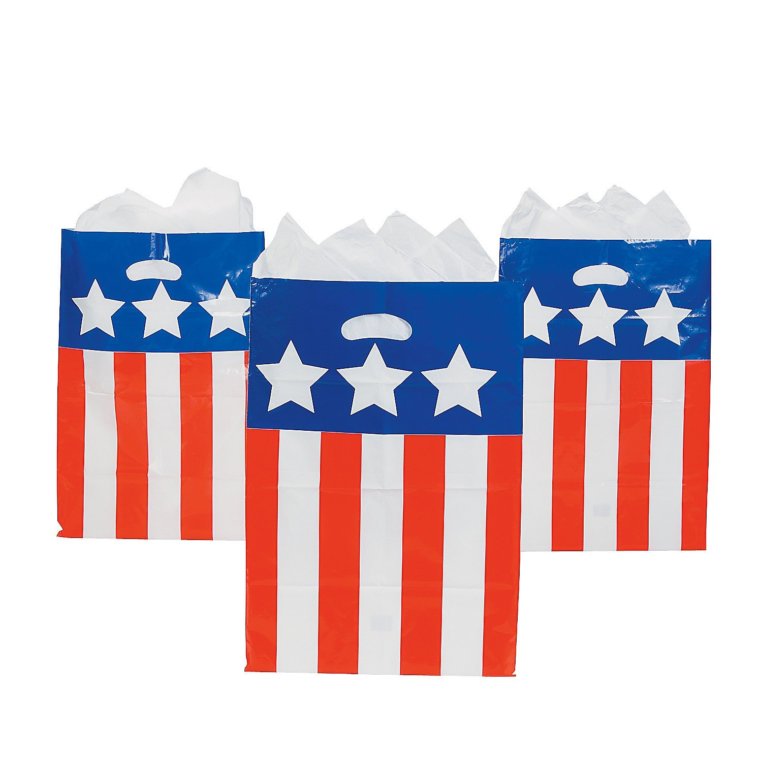 50 Plastic Patriotic Bags - Red, White and Blue - 4th of July Independance Day