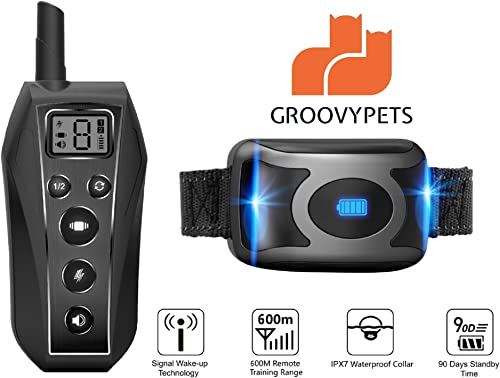 GROOVYPETS 2000 Feet Remote Dog Training Shock Collar w Safe Humane Beep, Vibration, Static Shock and Waterproof Long Lasting Rechargeable Battery for Small Medium Large Dogs