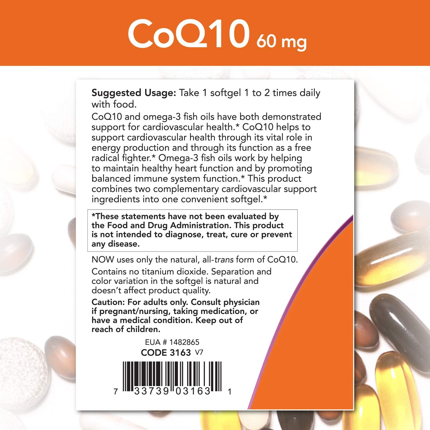 NOW Supplements, CoQ10 60 mg with Omega 3 Fish Oil, Cardiovascular Health*, 60 Softgels
