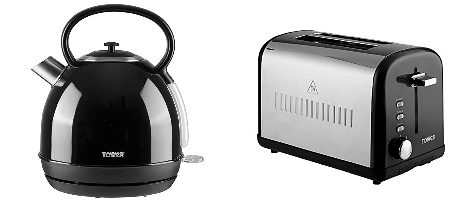 BLACK Tower Modern Infinity Kitchen Set - a 1.7L BLACK Dome Kettle and a BLACK 2 Slice Toaster