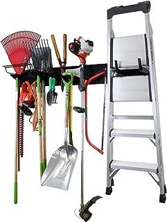 "product image for Wall Control Garage Storage Rack Lawn & Garden Tool Organization Wall Mount Organizer - Easy to Install 64"" Wide Heavy Duty Metal Pegboard Set (Black Pegboard)"