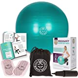 "The Birth Ball - Birthing Ball for Pregnancy - Labor Ball + 18pg Pregnancy Ball Exercises Guide by Trimester ""How to Dilate, How to Reposition Baby"" & More 2000lb Stress Limit, Non Slip Socks"