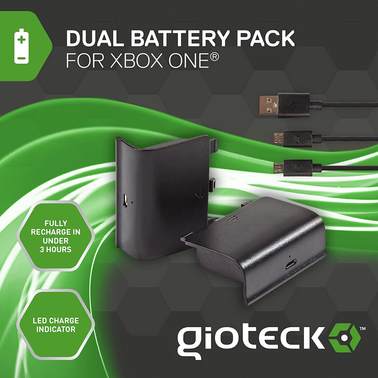 Gioteck - Dual Battery Pack + Cable Play & Charge (Xbox One ...
