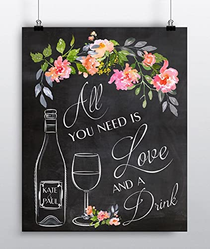 Wedding bar sign wedding reception sign poster personalized wedding wall art print wine