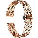 BINLUN Ultra Thin Mesh Stainless Steel Watch Band Light Watch Strap Polished Watch Bracelets Replacement 12mm/14mm/16mm/18mm/