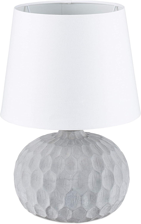 Relaxdays Lámpara de Mesa Original con Pie Redondo, Tulipa Cilíndrica, Cemento y Tela, 36 x 23 x 23 cm, Blanco-Gris: Amazon.es: Iluminación