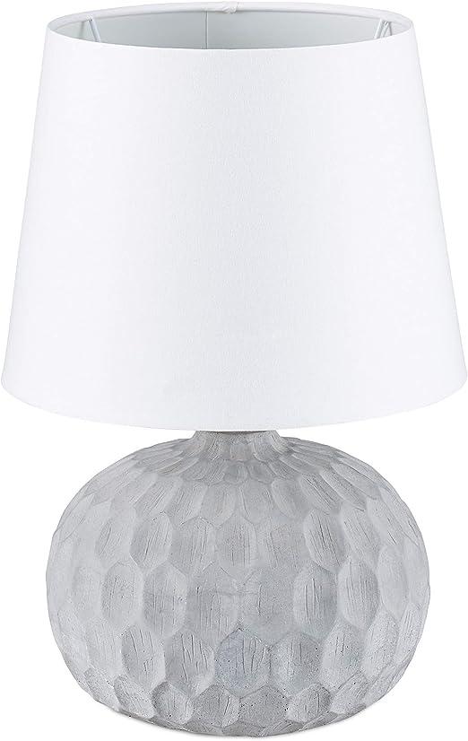 Relaxdays Lampada Da Tavolo Con Base In Cemento Raffinato Mix Di Materiali Design Elegante Hlp 36 X 23 X 23 Cm Bianco Amazon It Illuminazione
