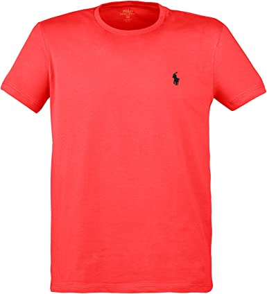 Polo Ralph Lauren - Camiseta para hombre con logotipo de bordado, cuello redondo, basic custom fit Rot Rosette - Rosette Red S : Amazon.es: Ropa y accesorios
