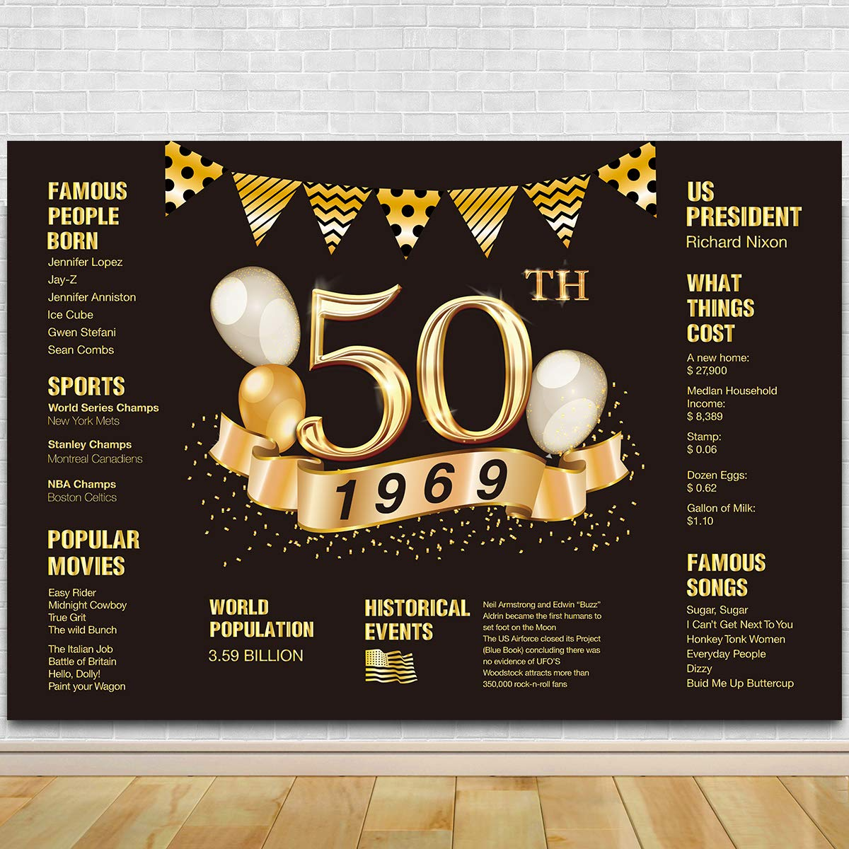 50th Birthday Photography Backdrop | 50th Anniversary Decorations | 1969 Sign | 50th Birthday Black Gold Party Decoration by Agantree Art