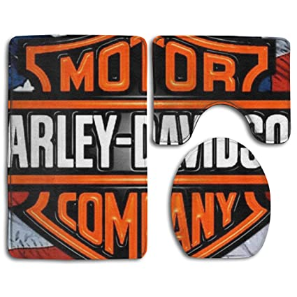 Phenomenal Amazon Com Harley Davidson Bathroom 3 Pcs Mat Set Toilet Interior Design Ideas Oxytryabchikinfo