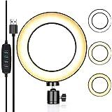 Ecoean 8 Pulgadas Aro de luz Regulable para Youtube/Transmisión en Vivo/Maquillaje