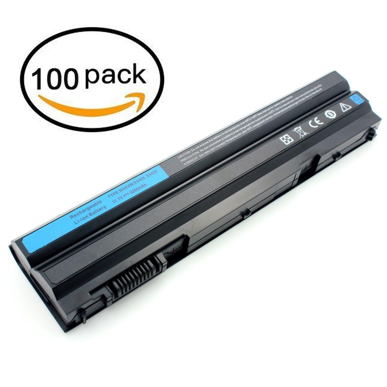 LTech 11.1V 5200mAh 6cell New Laptop Battery for Dell Latitude E6420 E6430 E5420 E5430 E5520 E5530 E6530 Compatible P/N: 2P2MJ T54FJ 12-1325 312-1165 M5Y0X PRV1Y (100 Pack)